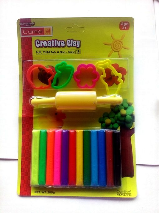 Camel Creative Clay 200 g 12 Shades with 4 Moulds and 1 Rollar Pin in One Set