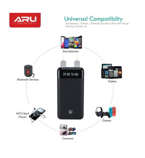 ARU 10000 mAh Power Bank (APB-1000-10000mAh, APB-1000) (Black, Lithium Polymer)