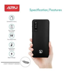 ARU 10000 mAh Power Bank (APB-1100-10000mAh, APB-1100) (Black, Lithium-ion)